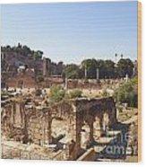 Ruins. Roman Forum. Rome Wood Print by Bernard Jaubert