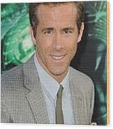 Ryan Reynolds At Arrivals For Green Wood Print by Everett