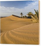 Sahara Desert At M'hamid, Morocco, Africa Wood Print by Ben Pipe Photography