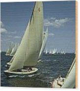 Sailboats Cross A Starting Line Wood Print by B. Anthony Stewart