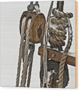Sailing Boat Detail With Snow Wood Print by Heiko Koehrer-Wagner