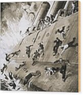 Sailors Escaping Hms Natal Which Caught Fire In Cromerty Firth In 1915 Wood Print by English School