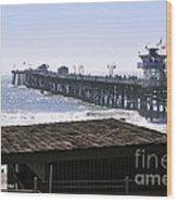 San Clemente Pier California Wood Print by Clayton Bruster