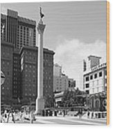 San Francisco - Union Square - 5d17933 - Black And White Wood Print by Wingsdomain Art and Photography