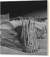 Sand Fence Wood Print by Jim Dohms