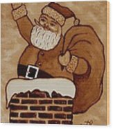 Santa Claus Is Coming Wood Print by Georgeta  Blanaru