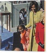 Sasha Obama Peeks Around Her Mother Wood Print by Everett