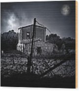 Scary House Wood Print by Stelios Kleanthous