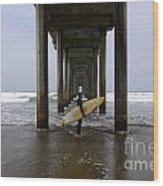 Scripps Pier Surfer Wood Print by Bob Christopher