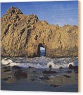 Sea Arch At Pfeiffer Beach Big Sur Wood Print by Tim Fitzharris