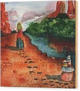 Sedona Arizona Spiritual Vortex Zen Encounter Wood Print by Sharon Mick
