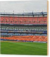 Shea Stadium Pano Wood Print by Dennis Clark