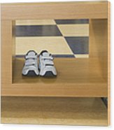 Shoes In A Shelving Unit Wood Print by Andersen Ross