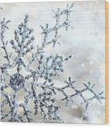 Silver Blue Snowflake  Wood Print by Sandra Cunningham