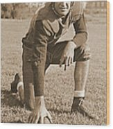 Slingin' Sammy Baugh 1937 Sepia Wood Print by Padre Art