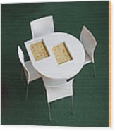 Small Cafe Table With Cookbooks Wood Print by Jaak Nilson