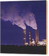 Smokestacks Billowing Smoke  At Night Wood Print by Skip Nall