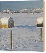 Snow Covered Hay Bales In A Snow Wood Print by Michael Interisano