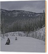 Snowmobilers In Yellowstone National Wood Print by Raymond Gehman
