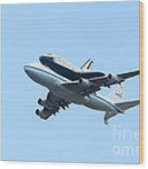 Space Shuttle Enterprise Arrives In New York City Wood Print by Clarence Holmes