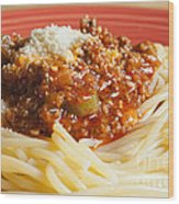 Spaghetti Bolognese Dish Wood Print by Andre Babiak