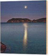 Spinalonga Full Moon Wood Print by Christos Tsoumplekas