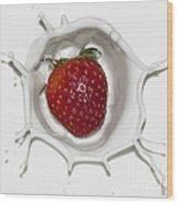 Splash Of Strawberry Wood Print by Jane Brack