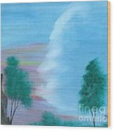 Split Sky Wood Print by Robert Meszaros