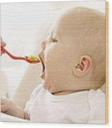 Spoon-feeding Wood Print by Ruth Jenkinson