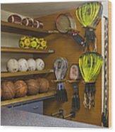Sports Equipment Display Wood Print by Andersen Ross