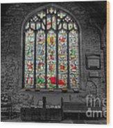 St Dyfnog Window Wood Print by Adrian Evans