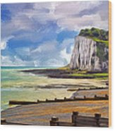 St. Margaret's Bay At Dover Wood Print by Dominic Piperata