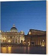 St. Peter's Basilica At Night Wood Print by David Smith