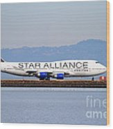 Star Alliance Airlines Jet Airplane At San Francisco International Airport Sfo . 7d12199 Wood Print by Wingsdomain Art and Photography