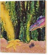 Star Fish Wood Print by Carolyn Doe