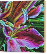 Stargazer Lilies Up Close And Personal Wood Print by Bill Tiepelman