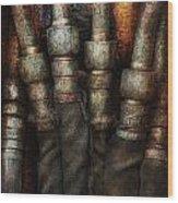 Steampunk - Pipes Wood Print by Mike Savad
