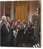 Stevie Wonder Receives A Standing Wood Print by Everett