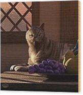 Still Life With Wine Fruit And Cat  Wood Print by Daniel Eskridge