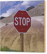 Stop Sign In South Dakota Badlands Wood Print by Will & Deni McIntyre
