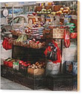 Store - Ny - Chelsea - Fresh Fruit Stand Wood Print by Mike Savad
