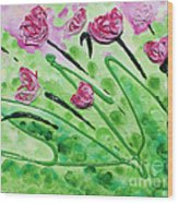 Stringy Tulips Wood Print by Ruth Collis