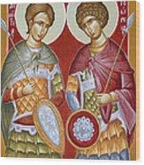 Sts Dimitrios And George Wood Print by Julia Bridget Hayes