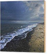 Sun Light On Dunwich Beach Wood Print by Darren Burroughs