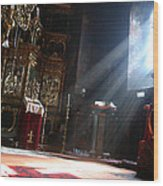 Sun Rays In Orthodox Church Wood Print by Emanuel Tanjala