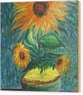 Sunflower In A Vase Wood Print by Prasenjit Dhar