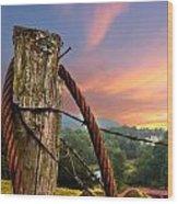 Sunrise Lasso Wood Print by Debra and Dave Vanderlaan
