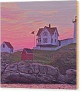 Sunrise Nubble Lighthouse Wood Print by Dale J Martin