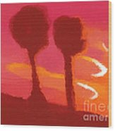 Sunset Abstract Trees Wood Print by Pixel Chimp