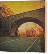 Sunset On Blue Ridge Parkway Wood Print by Kathy Jennings